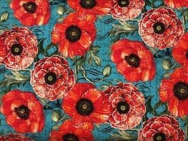 NUTEX PATCHWORK FABRIC - POPPIES ALONE -39770 - BLUE